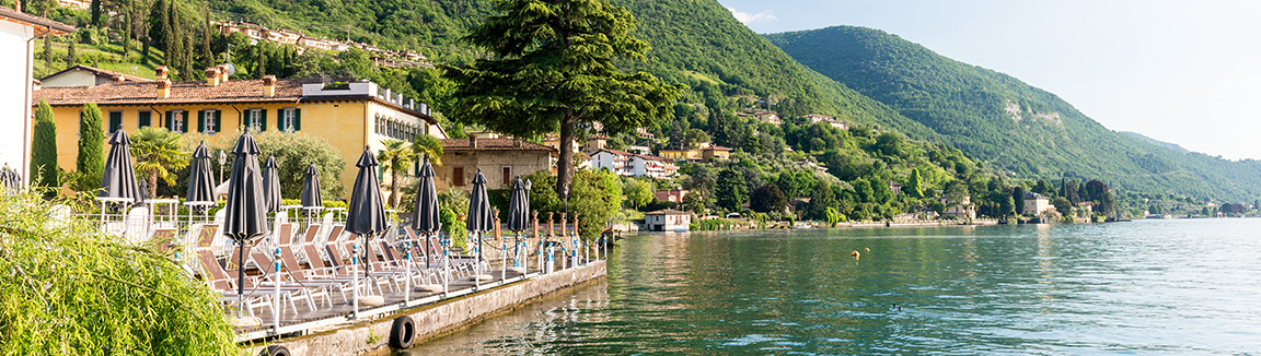 The hotel Rivalago is in a stunning setting on the shore of Lake Iseo, perfect to bookend our Mille Miglia touring holiday