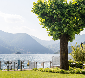 Looking across the lake from the terrace of one of our Mille Miglia tour hotels